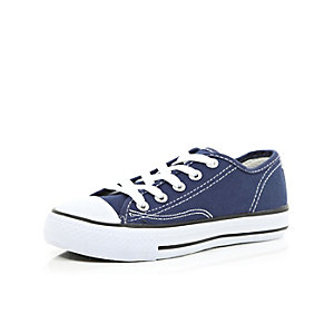 Boys navy lace up plimsolls