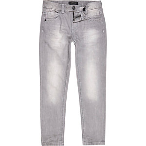 Boys grey distressed Dean straight jeans