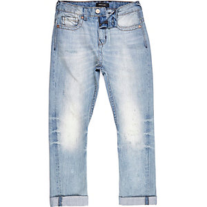 Boys mid wash Chester skinny tapered jeans