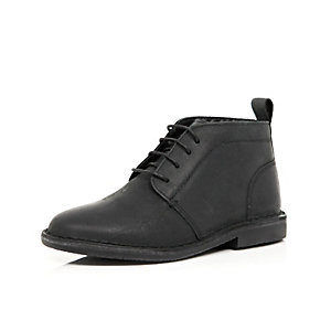 Boys black leather lace up boots