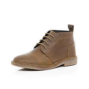 Boys brown lace up boots