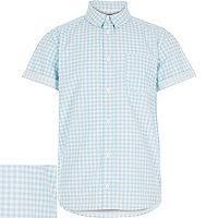 Boys blue gingham short sleeve shirt