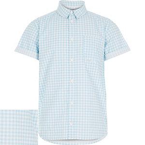 Boys blue gingham short sleeve shirt