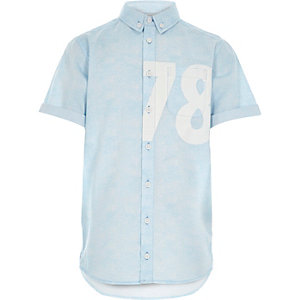 Boys blue 78 print short sleeve shirt