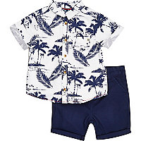 Mini boys blue Hawaiian shirt shorts outfit