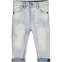 Mini boys blue rip and repair slim jeans