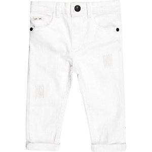 Mini boys white rip and repair jeans
