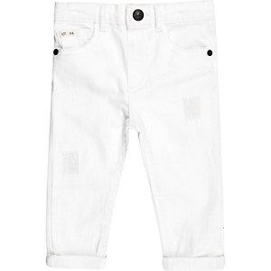 Mini boys white rip and repair jeans