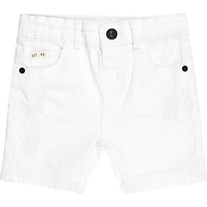 Mini boys white distressed denim shorts