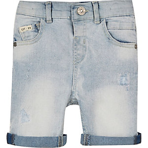 Mini boys light rip and repair denim shorts