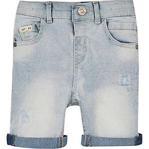 Mini boys light rip and repair denim shorts