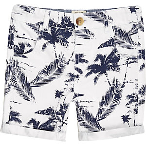 Mini boys white tropical print shorts