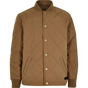 Boys tan quilted jacket