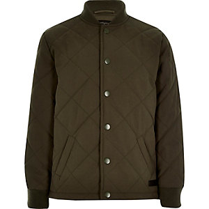 Boys olive green quilted jacket