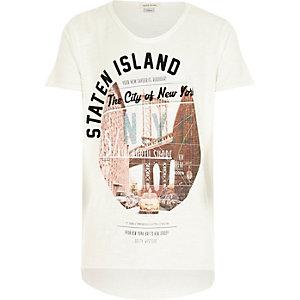Boys ecru Staten Island print t-shirt