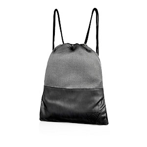 Boys black leather-look sports bag
