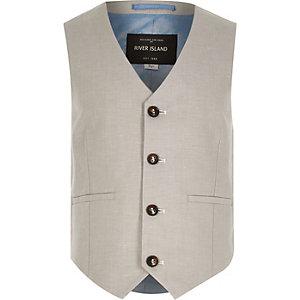 Boys ecru linen-blend suit waistcoat