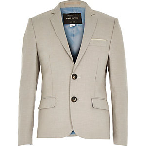 Boys ecru linen-blend suit jacket