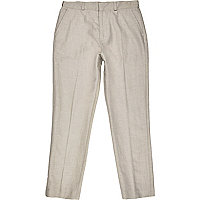 Boys ecru linen-blend suit trousers