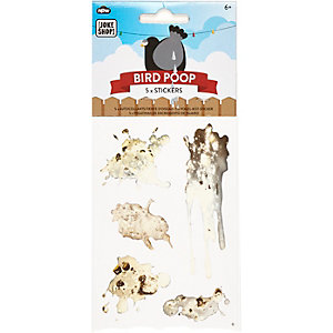 Boys white bird poo stickers