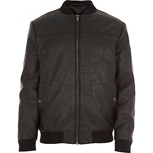 Boys black leather-look bomber jacket
