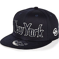 Boys navy New York script cap