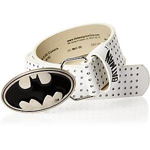 Boys white perforated Batman belt