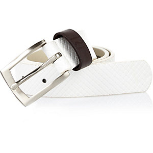 Boys white crosshatch belt