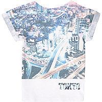 Mini boys white Tokyo print t-shirt