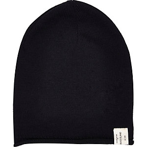 Boys black knitted slouch beanie hat