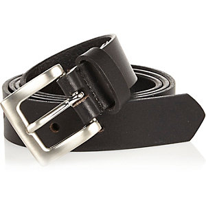Boys black smart leather belt