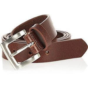 Boys brown smart leather belt