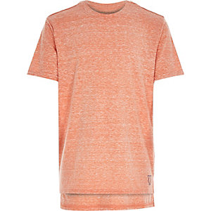 Boys orange burnout stepped hem t-shirt