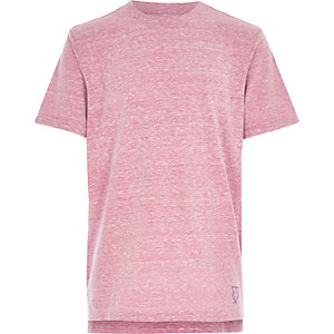 Boys pink burnout stepped hem t-shirt