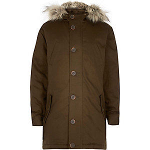 Boys khaki green parka coat