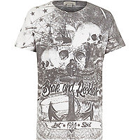 Boys white brave and reckless print t-shirt