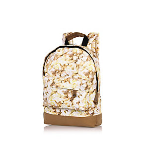 Kids white mini Mipac popcorn print backpack