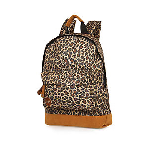 Kids brown Mipac leopard print backpack