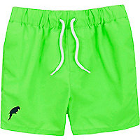 Mini boys fluro green swim shorts