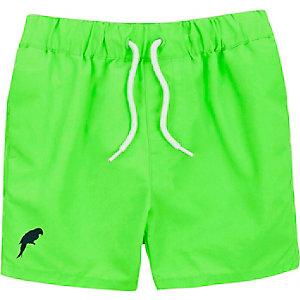 Mini boys fluro green swim shorts