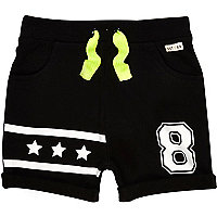 Mini boys black jersey star shorts