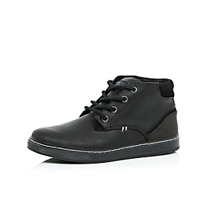 Boys black demi lace-up boots