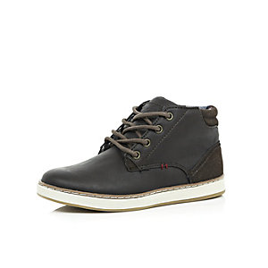 Boys brown demi lace-up boots
