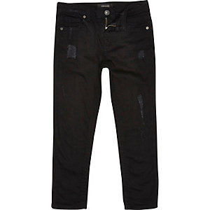 Boys black ripped Dean straight jeans