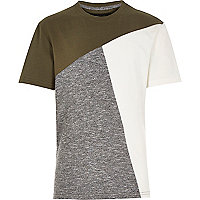 Boys khaki block colour stepped hem t-shirt