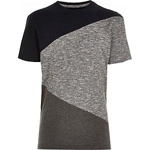 Boys navy colour block stepped hem t-shirt
