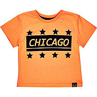 Mini boys orange Chicago print t-shirt