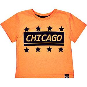 Mini boys orange Chicago print t-shirt