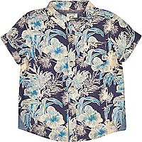 Mini boys blue tropical print shirt