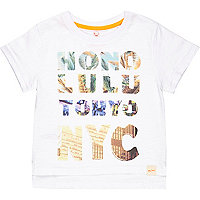 Mini boys white city print t-shirt